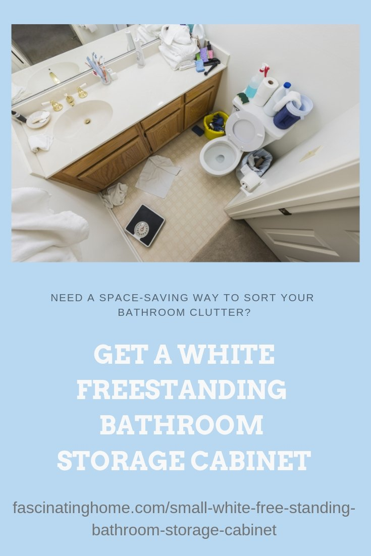 Small White Free Standing Bathroom Storage Cabinet