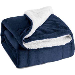 navy blue sherpa fleece blanket