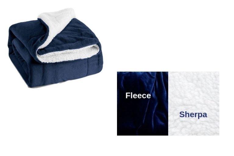 Navy Blue Sherpa Fleece Lap Blanket – For Cuddling!