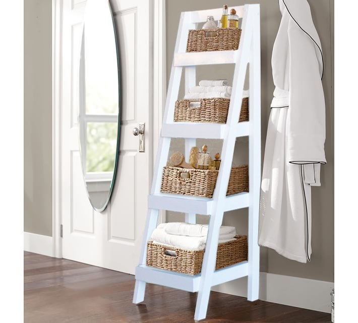 White Leaning Ladder Bookcases And Shelves